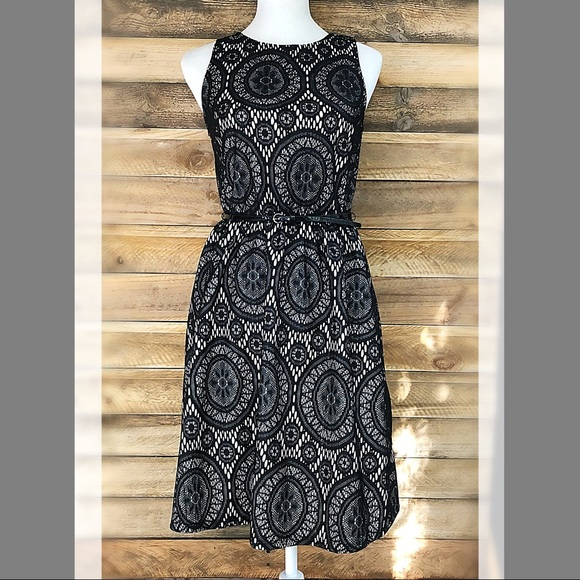 Tacera Dresses & Skirts - Tacera black & white lace fit & flare belted dress